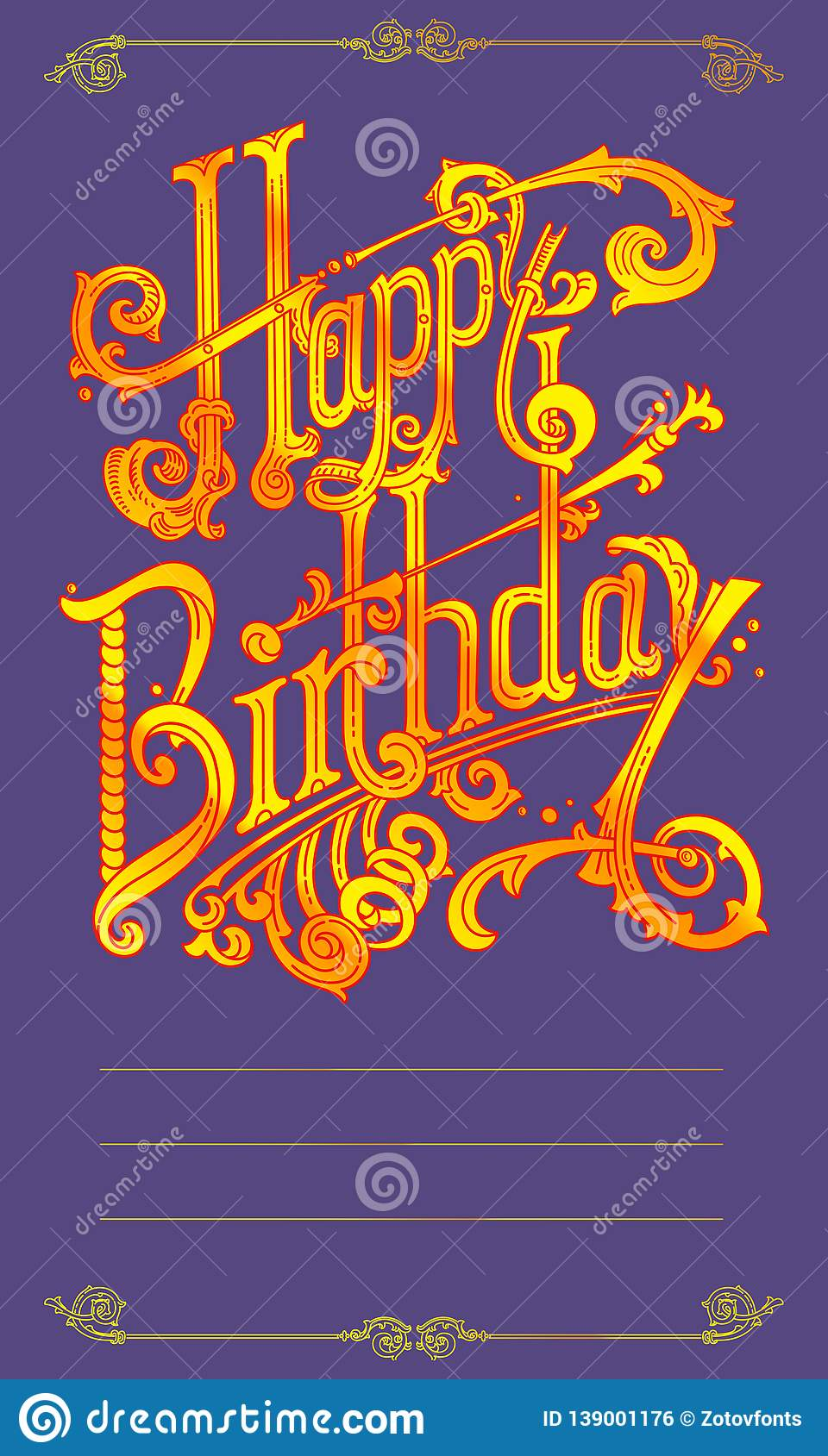 Happy Birthday Vintage Lettering Logos Stock Illustration