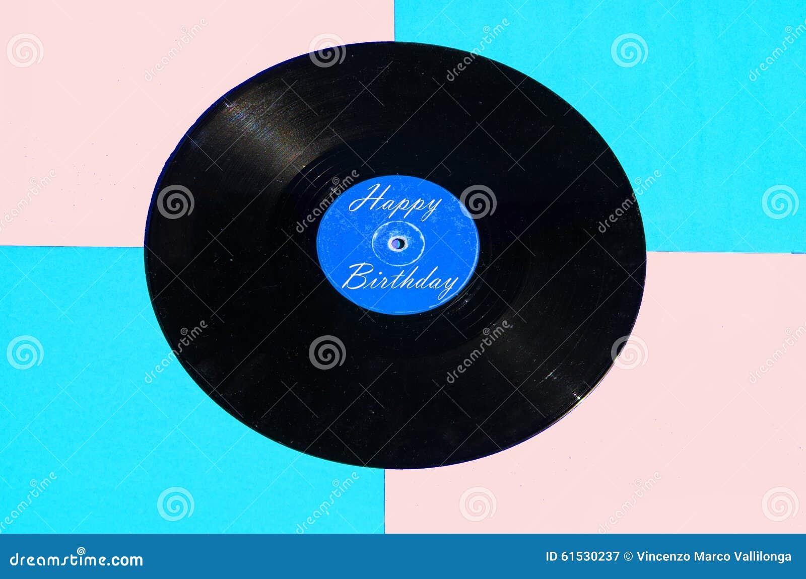 Happy Birthday Vinyl And Colored Background Stock Photo
