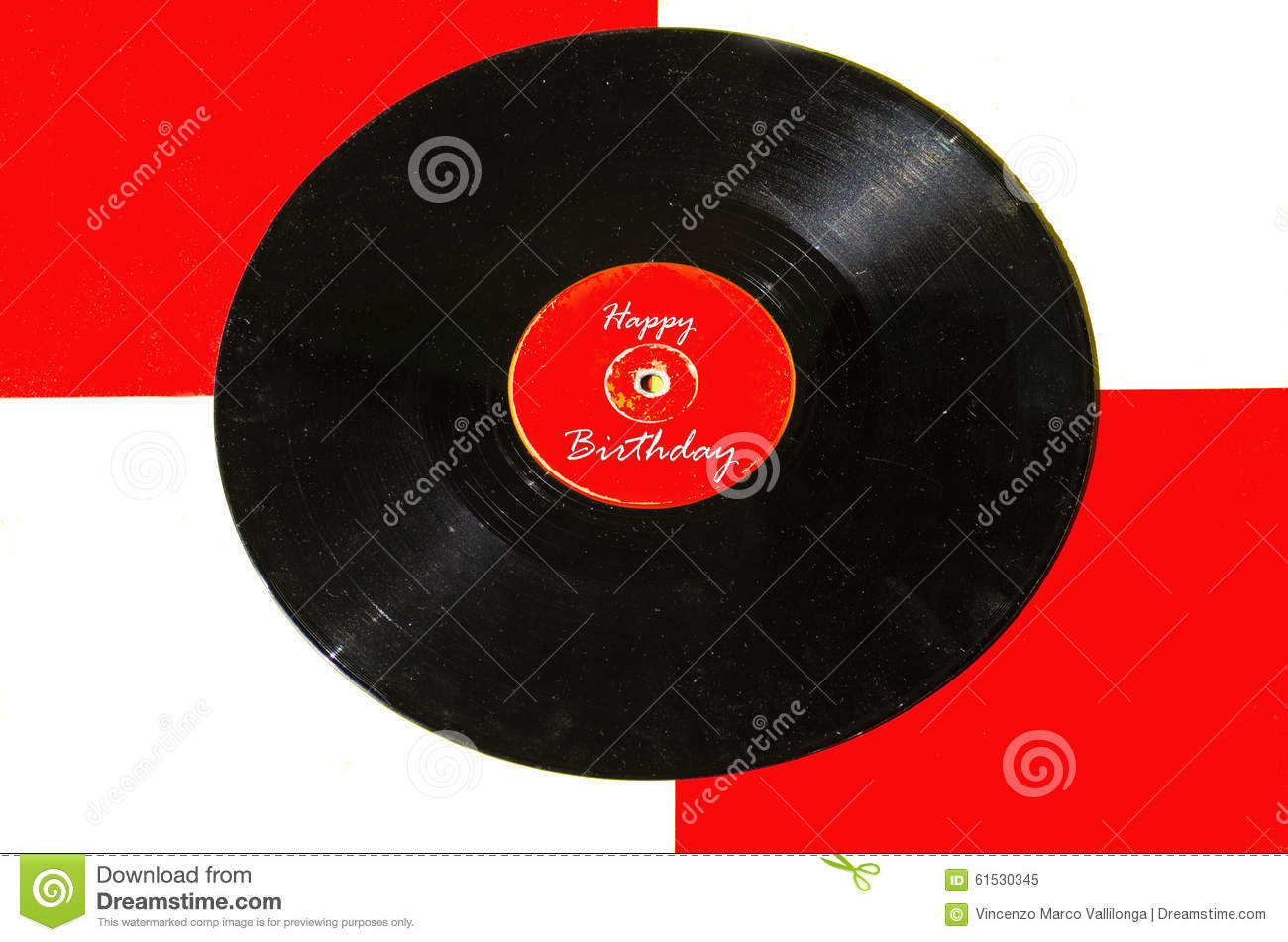 Happy Birthday Vinyl And Colored Background Stock Image