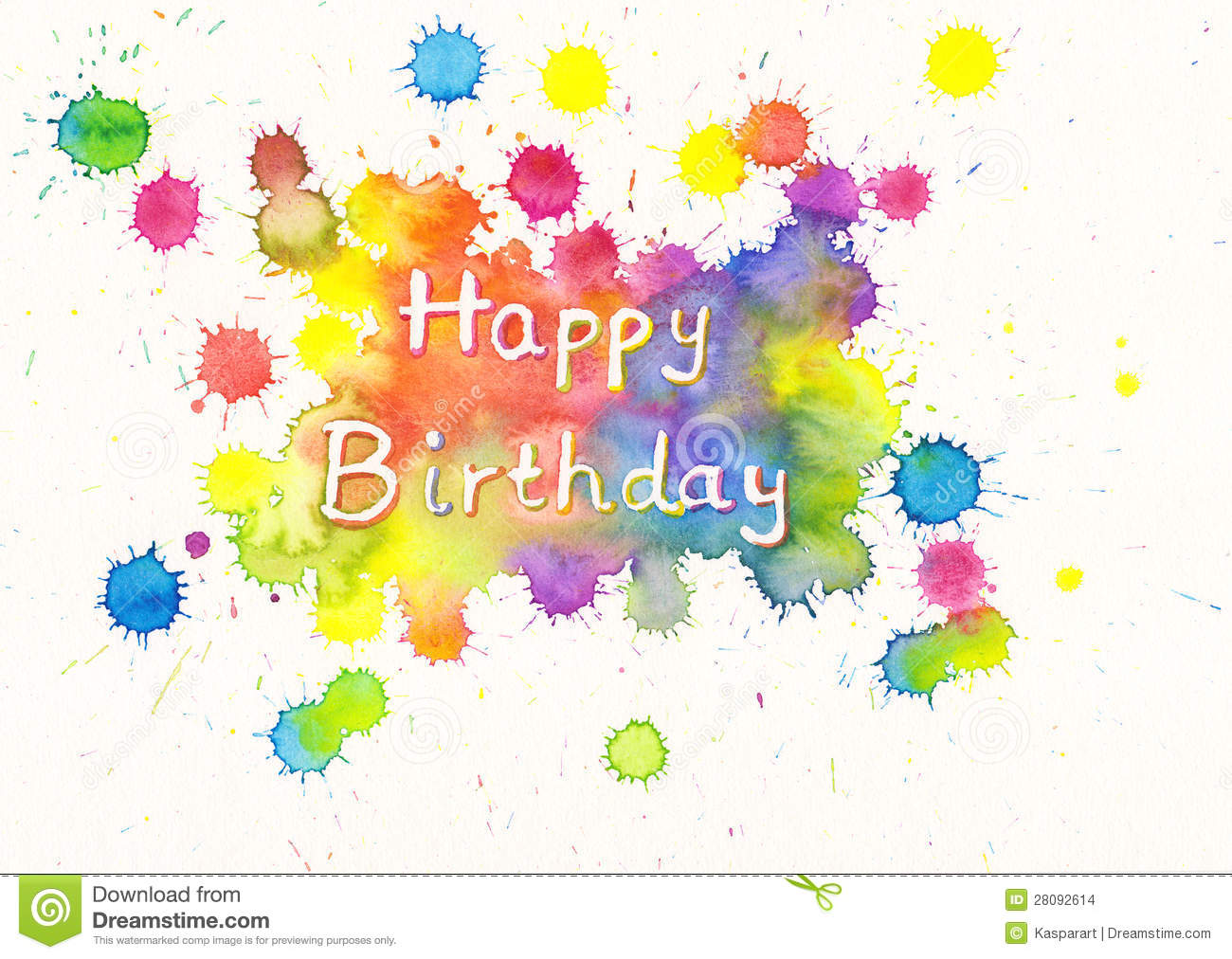 Happy birthday watercolor card stock illustration for Happy color spray paint price