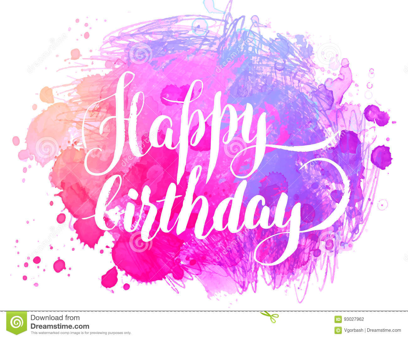 Happy Birthday Watercolor Greeting Card Vector Illustration I
