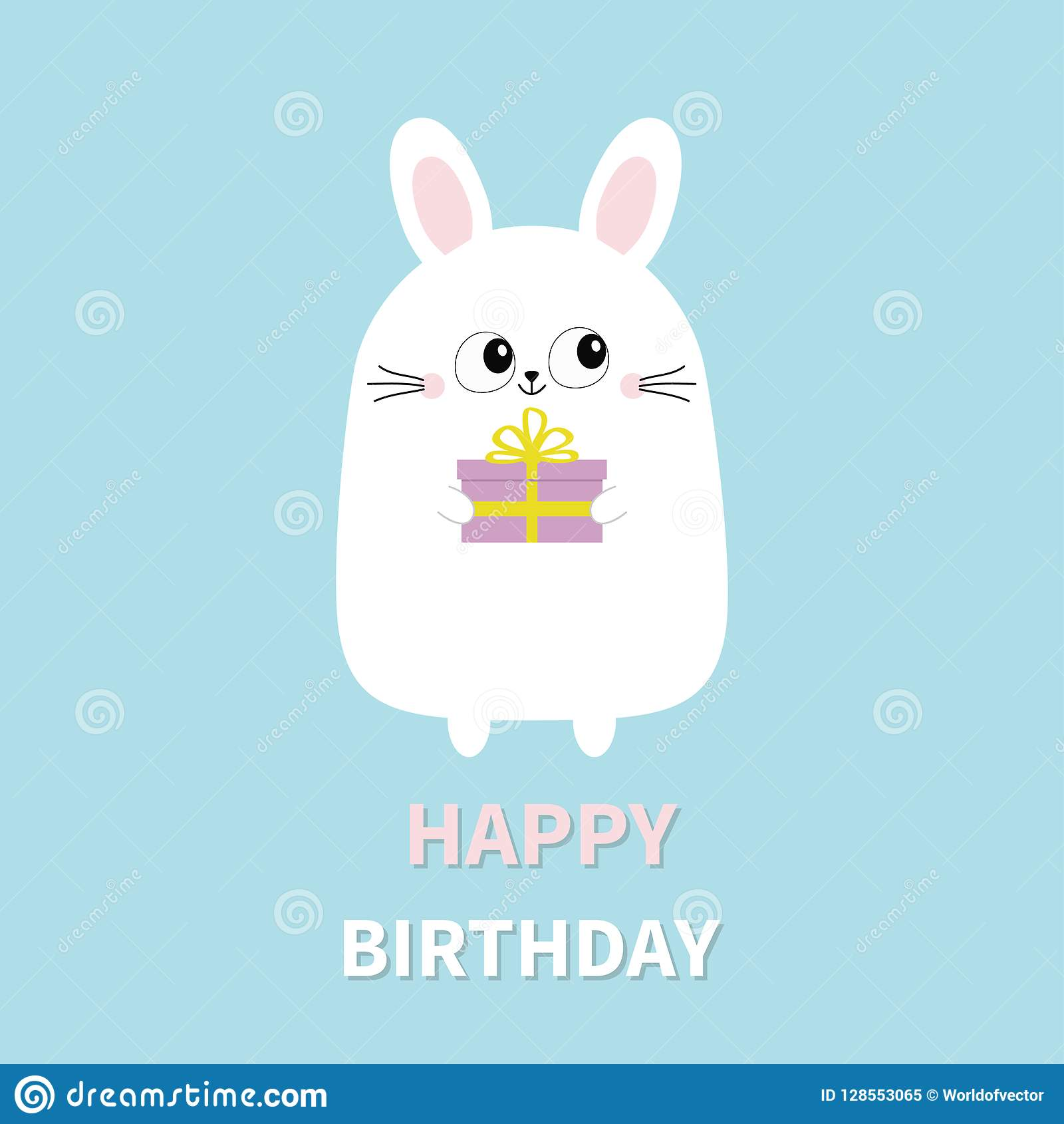 Happy Birthday White Bunny Rabbit Holding Gift Box Funny Head Face Big Eyes Cute Kawaii Cartoon Character Baby Greeting Card Template Blue Background