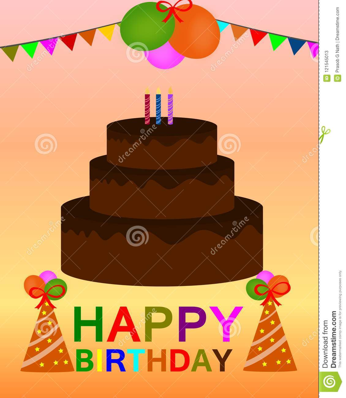 Awe Inspiring Happy Birthday Colorful Greeting Card Vector Stock Vector Funny Birthday Cards Online Fluifree Goldxyz