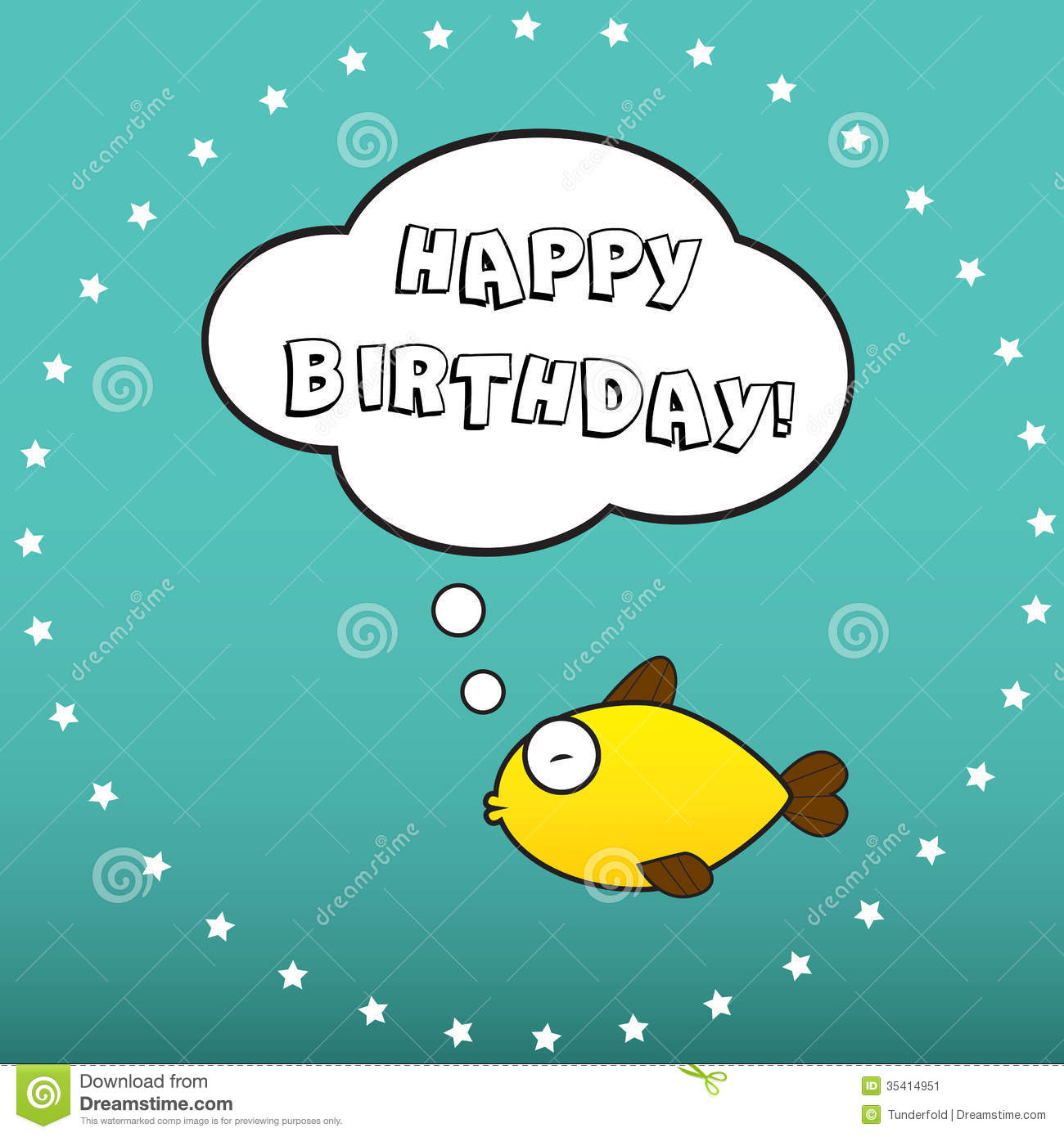 Happy Birthday Wishes From A Fish Stock Illustration