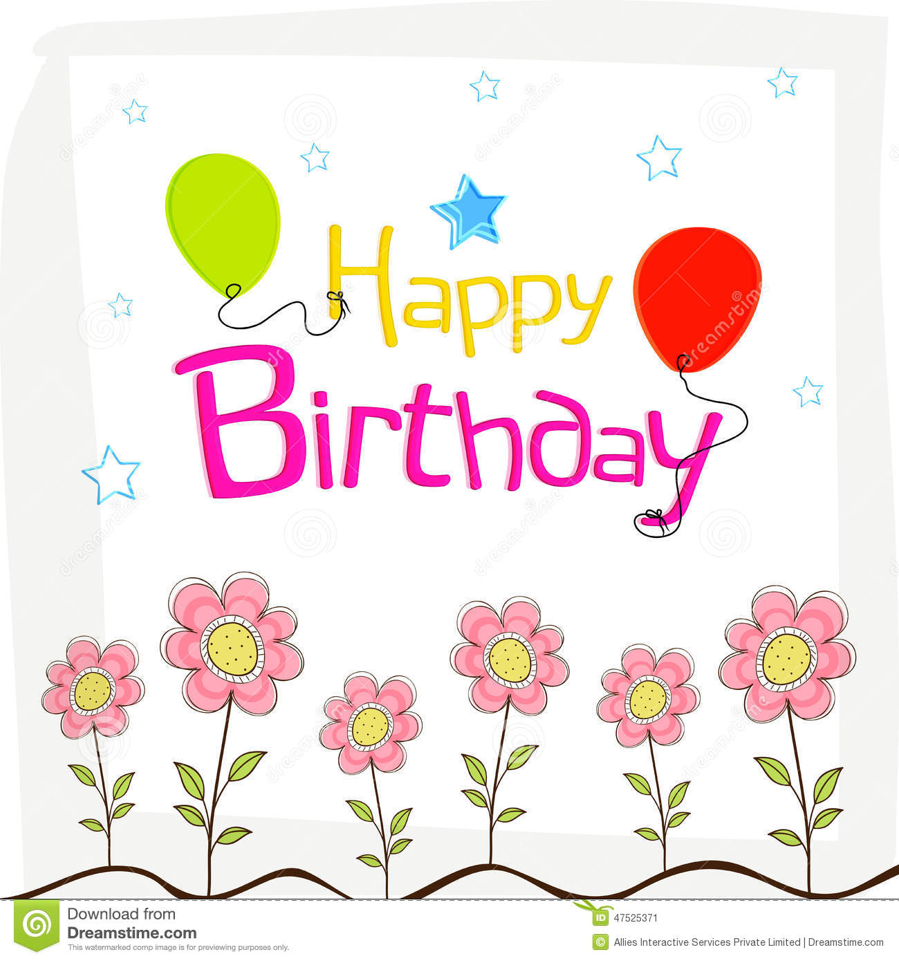Happy Birthday Wishes Poster Design With Decoration. Stock ...