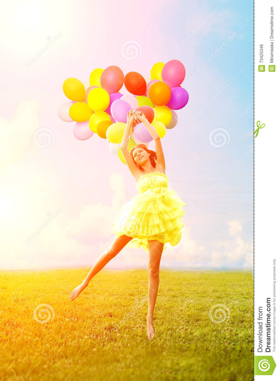 Happy Birthday Woman Against The Sky With Rainbow Colored Air Ba