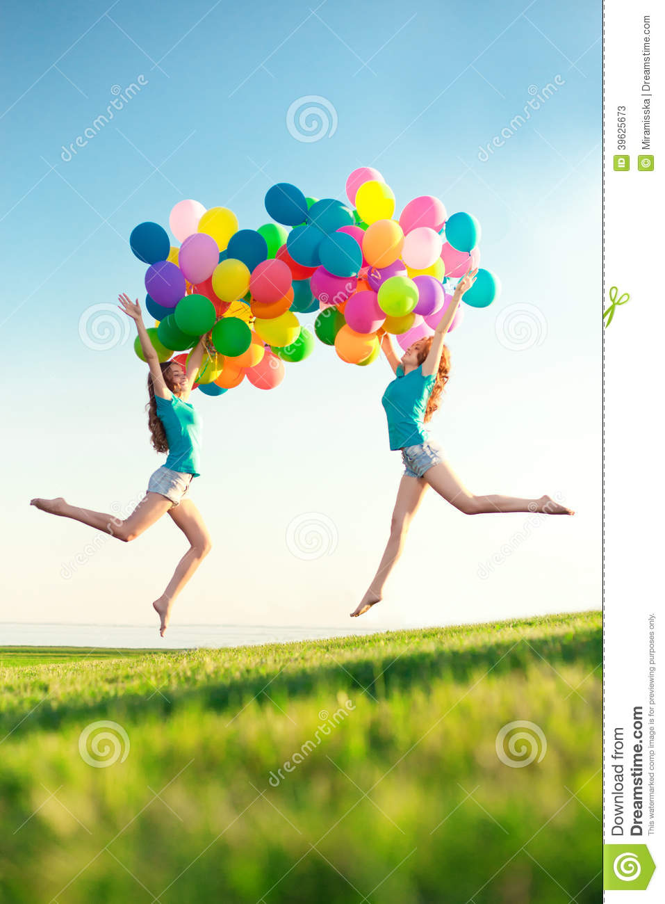 Happy Birthday Women Against The Sky With Rainbow Colored Air Balloons In Her Hands Sunny And Positive Energy Of Nature Young Beautiful Girls Twins On