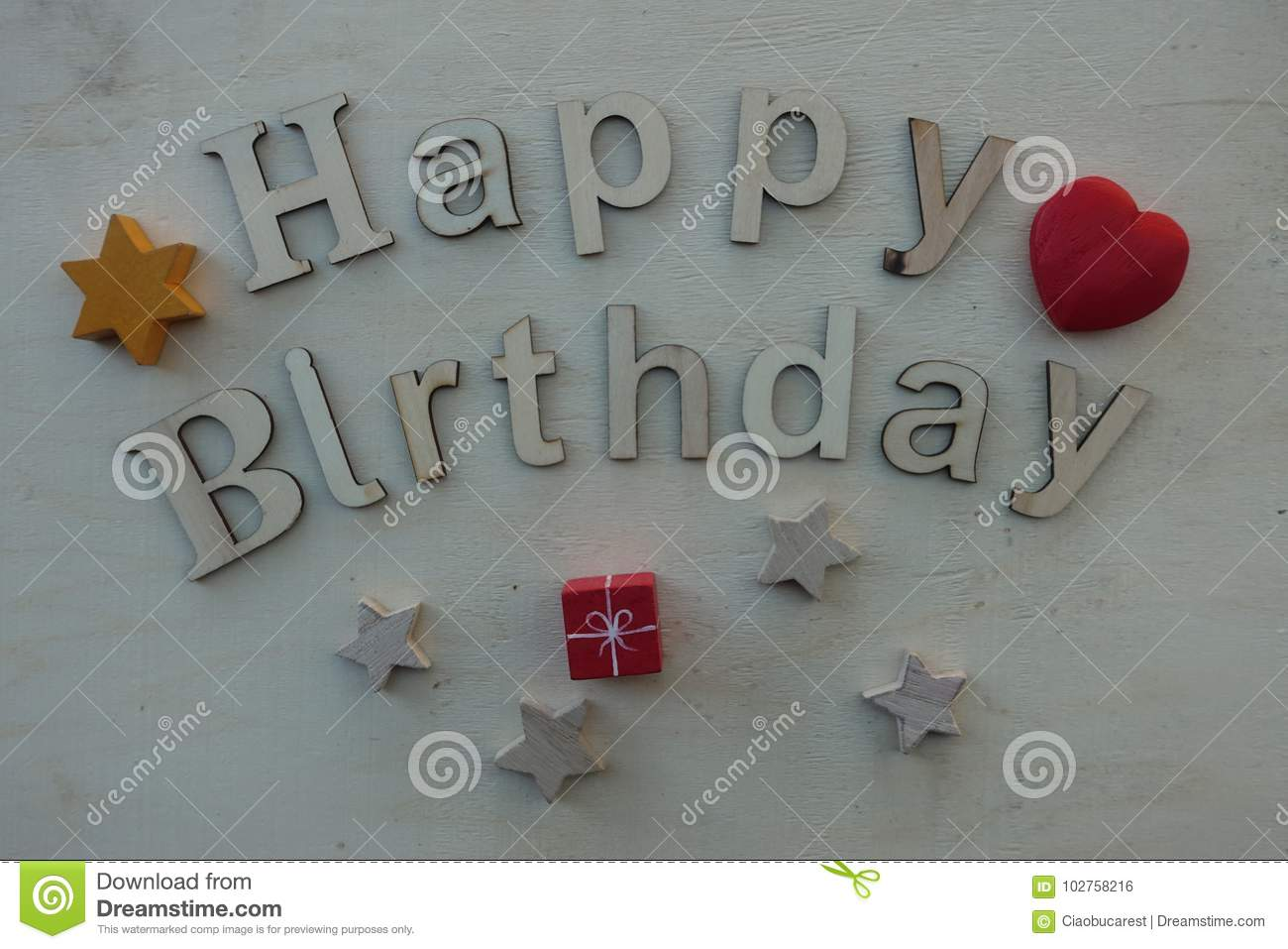 Happy Birthday With Wooden Letters Stock Photo Image Of