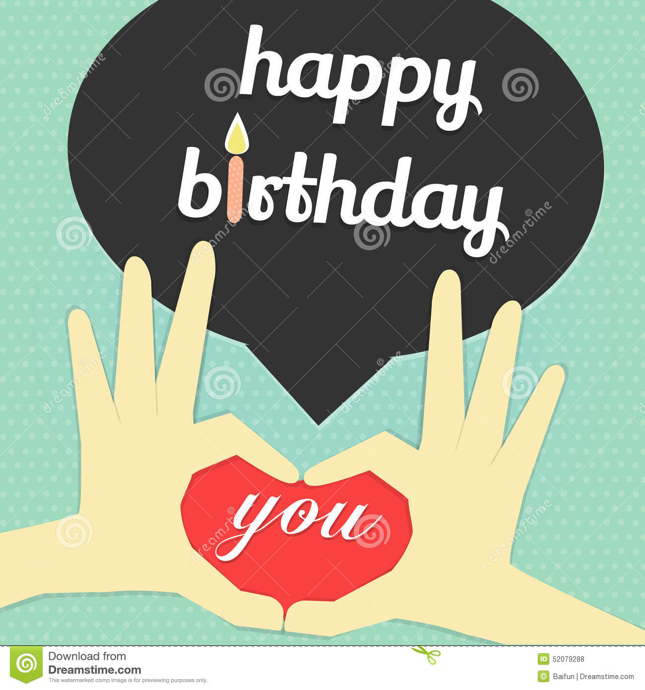 Happy Birthday Word And Candle Stock Vector