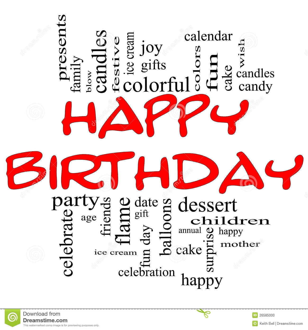 happy birthday word cloud concept in red  u0026 black stock photo
