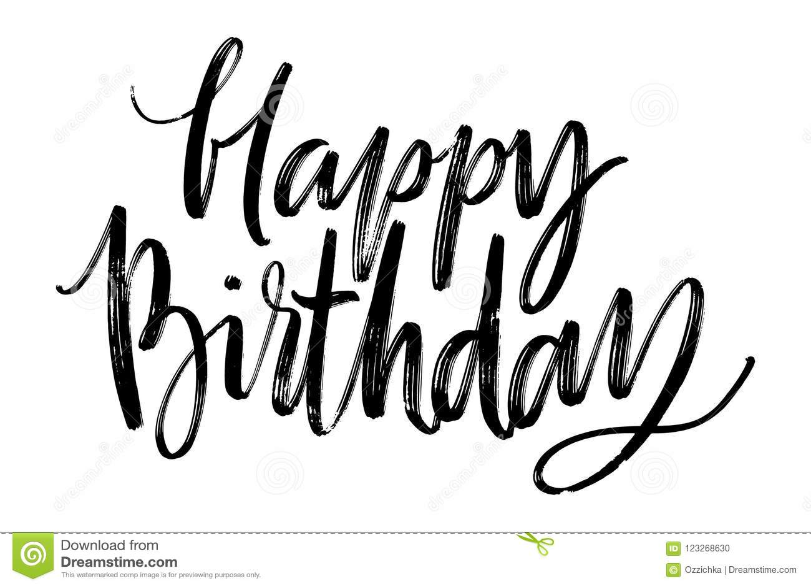 Happy Birthday Words Hand Drawn Creative Calligraphy And Brush Pen