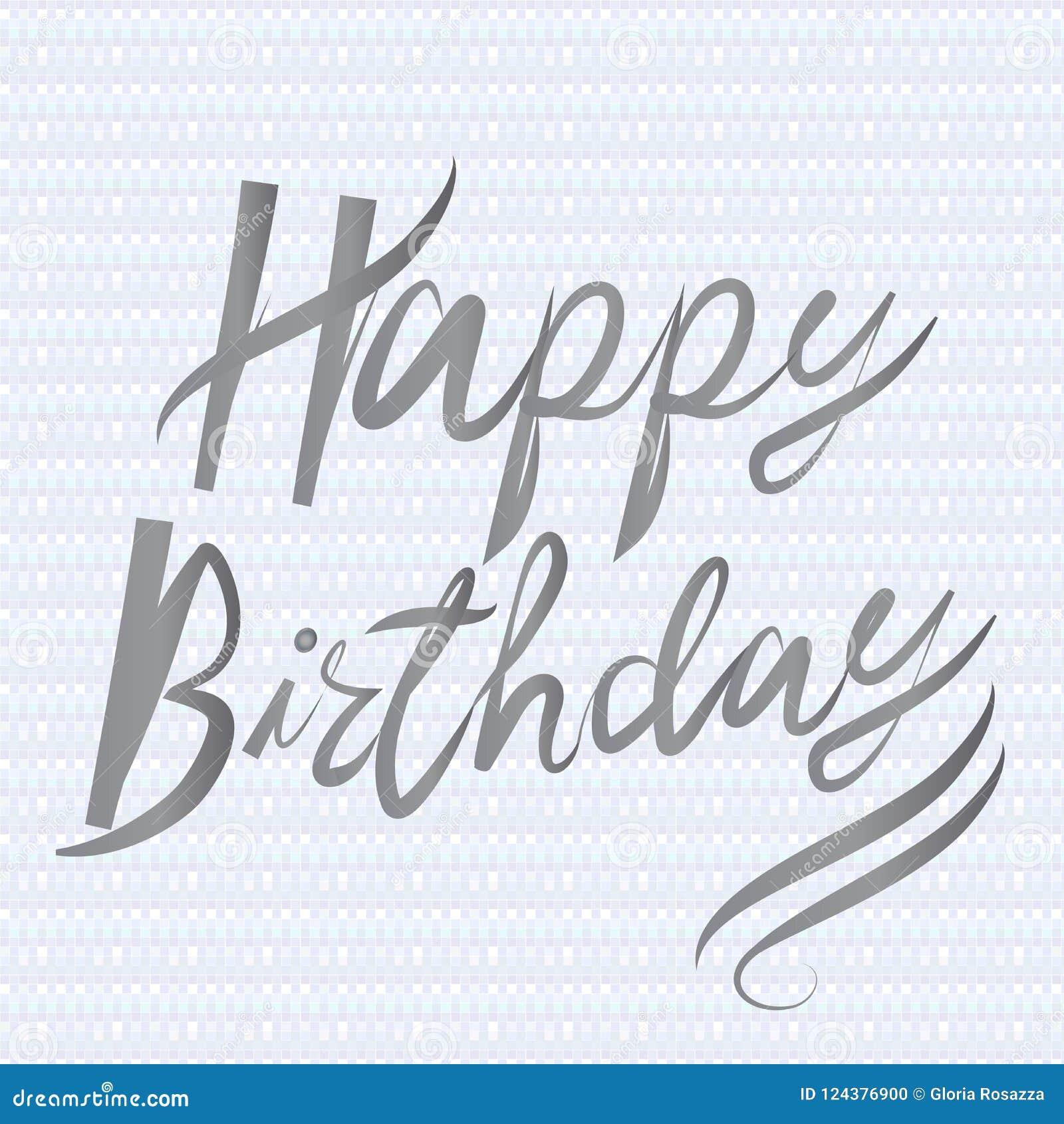 happy birthday words handmade calligraphy icon vector design stock