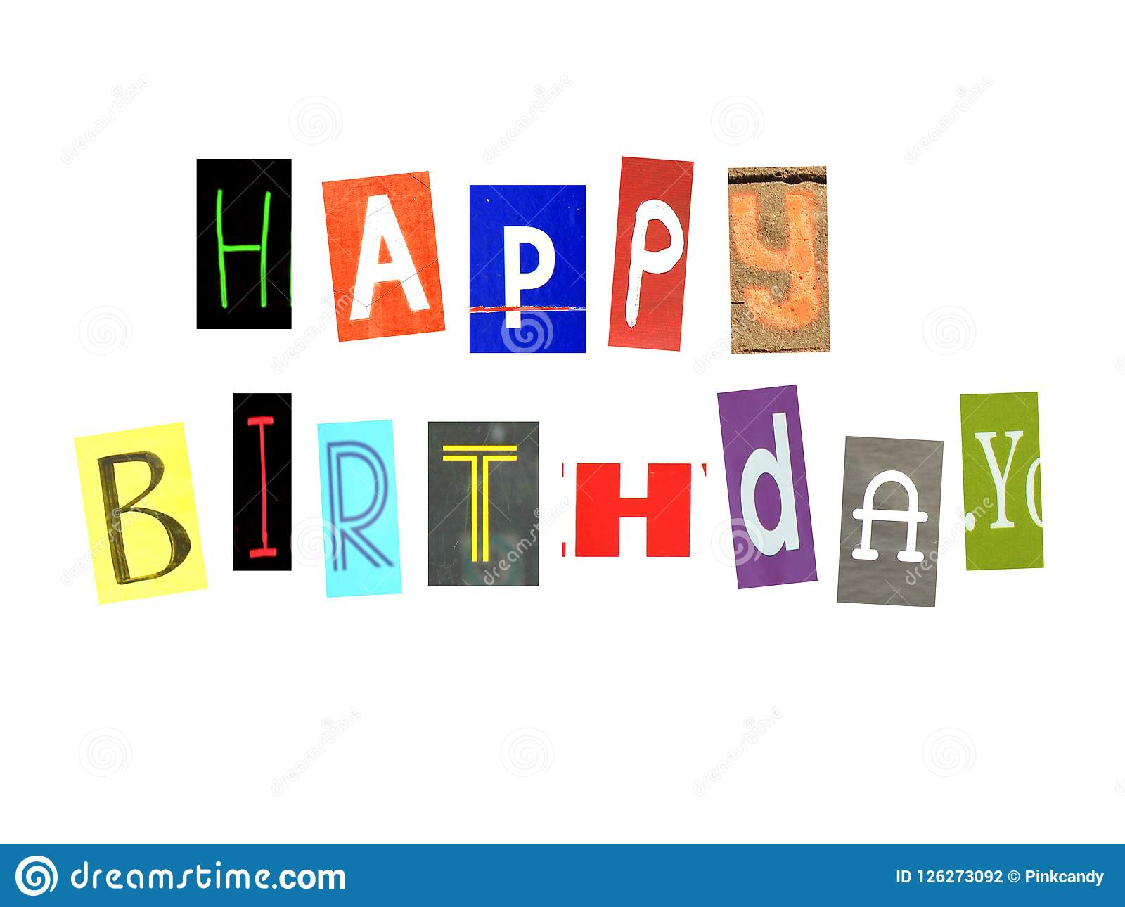 happy birthday words made of newspaper letters stock illustration