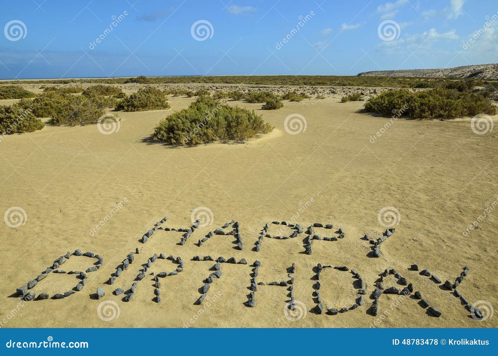 Happy Birthday Written With Stones Stock Photo Image