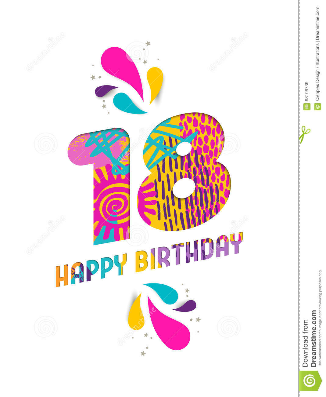 Happy Birthday 18 Year Paper Cut Greeting Card Stock Vector