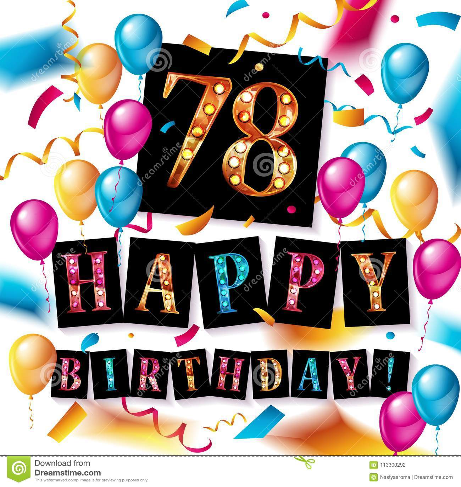 Happy Birthday 78 Years Anniversary Stock Illustration