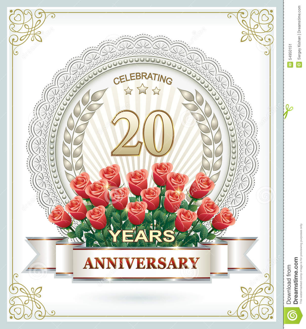 happy birthday 20 years with roses stock vector illustration of background banner 54950151. Black Bedroom Furniture Sets. Home Design Ideas