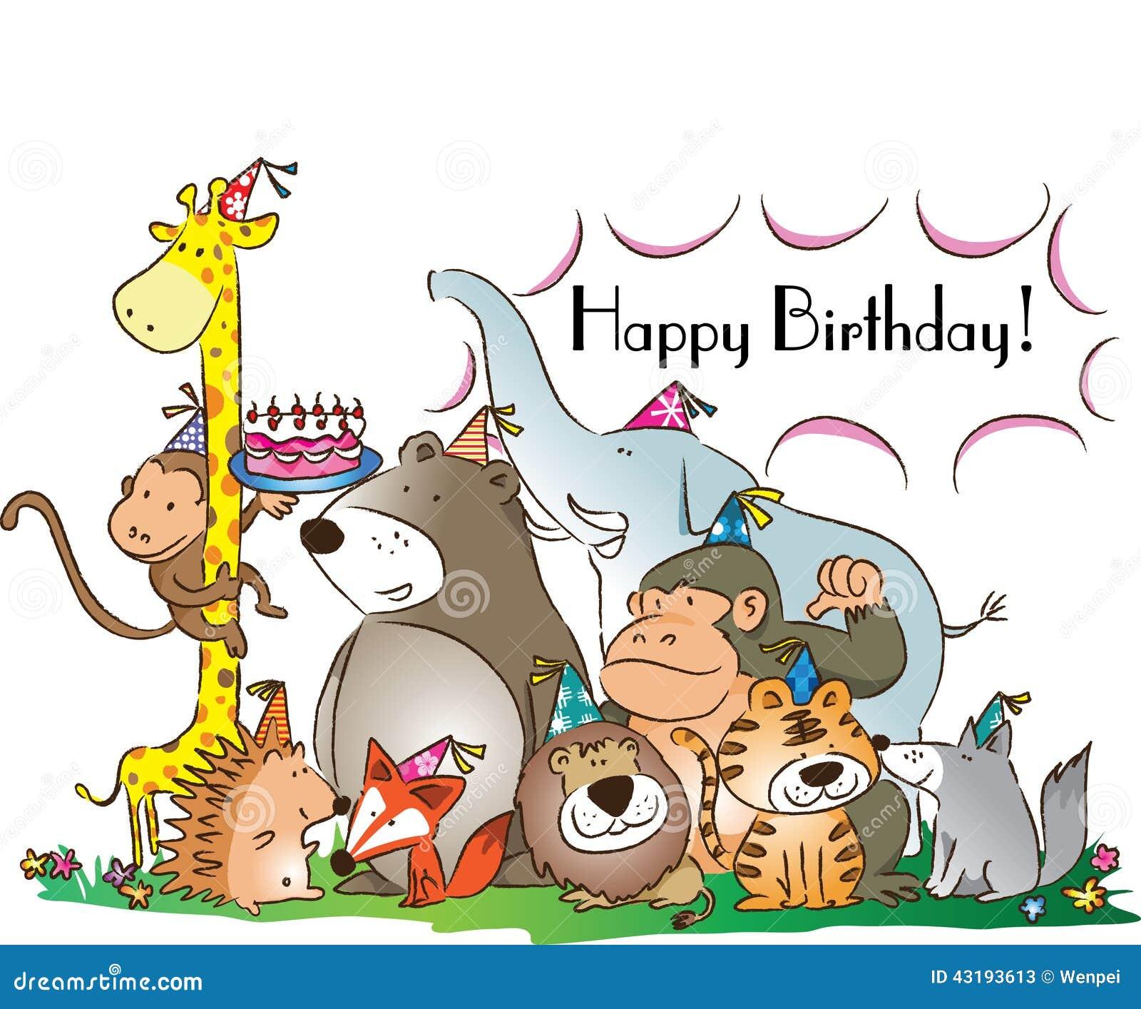 Happy Birthday Stock Illustration Illustration Of Animals 43193613