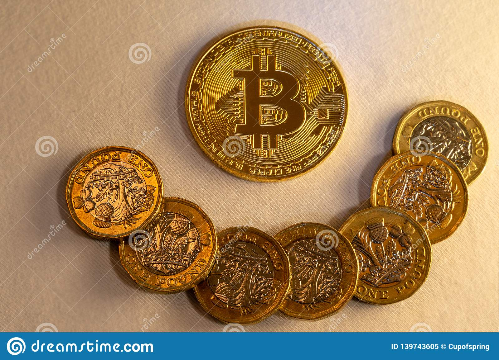Happy bitcoin collage, cryptocurrency accepting for payment and finance concept