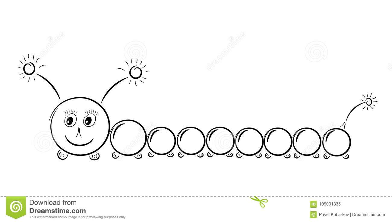 Happy Caterpillar With Cute Eyes Stock Vector Illustration Of