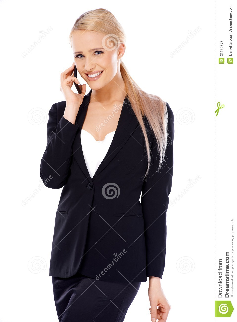 Blond Business Woman Using Mobile Phone by Daniel_Dash