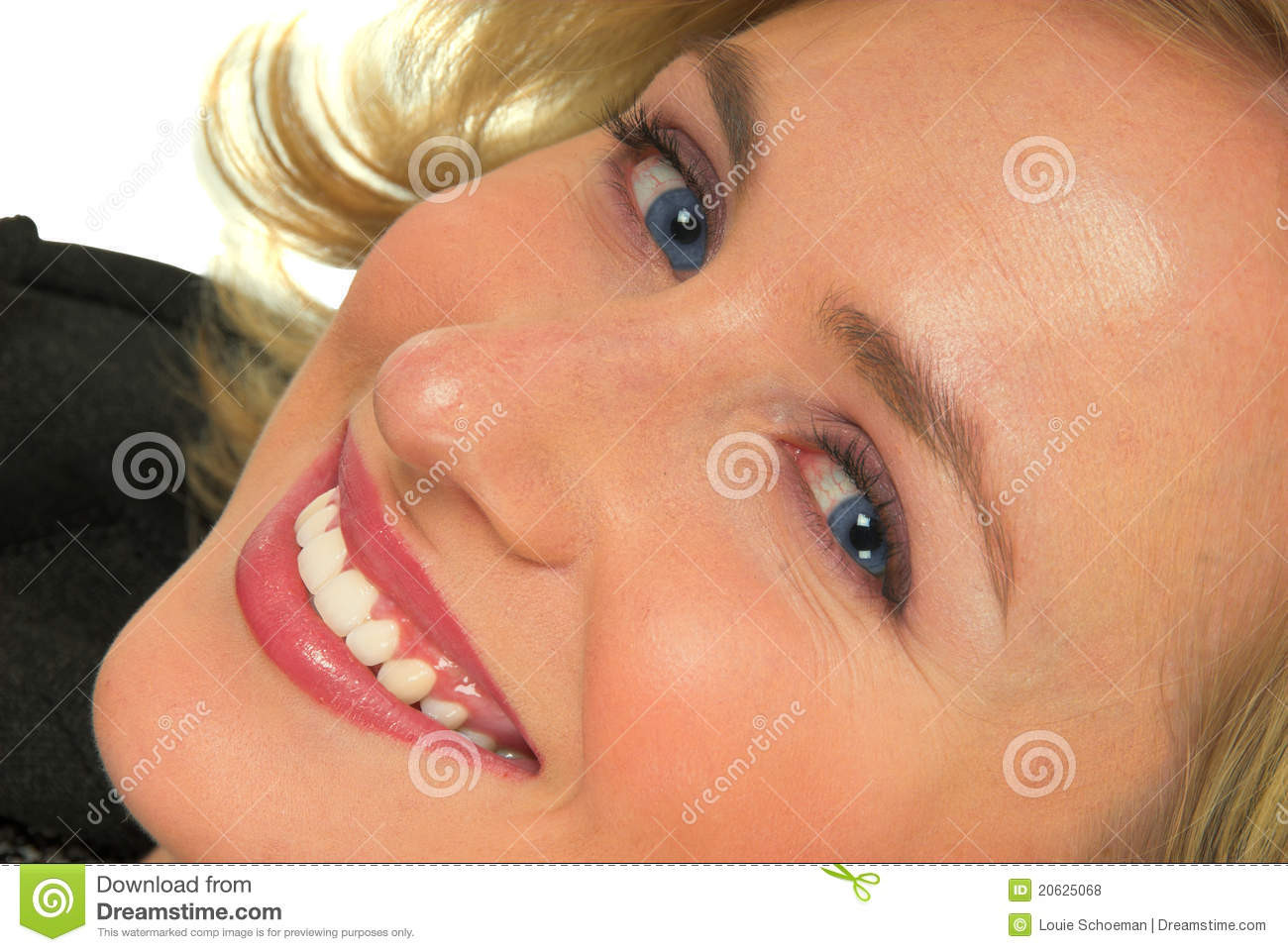 Happy blond haired woman
