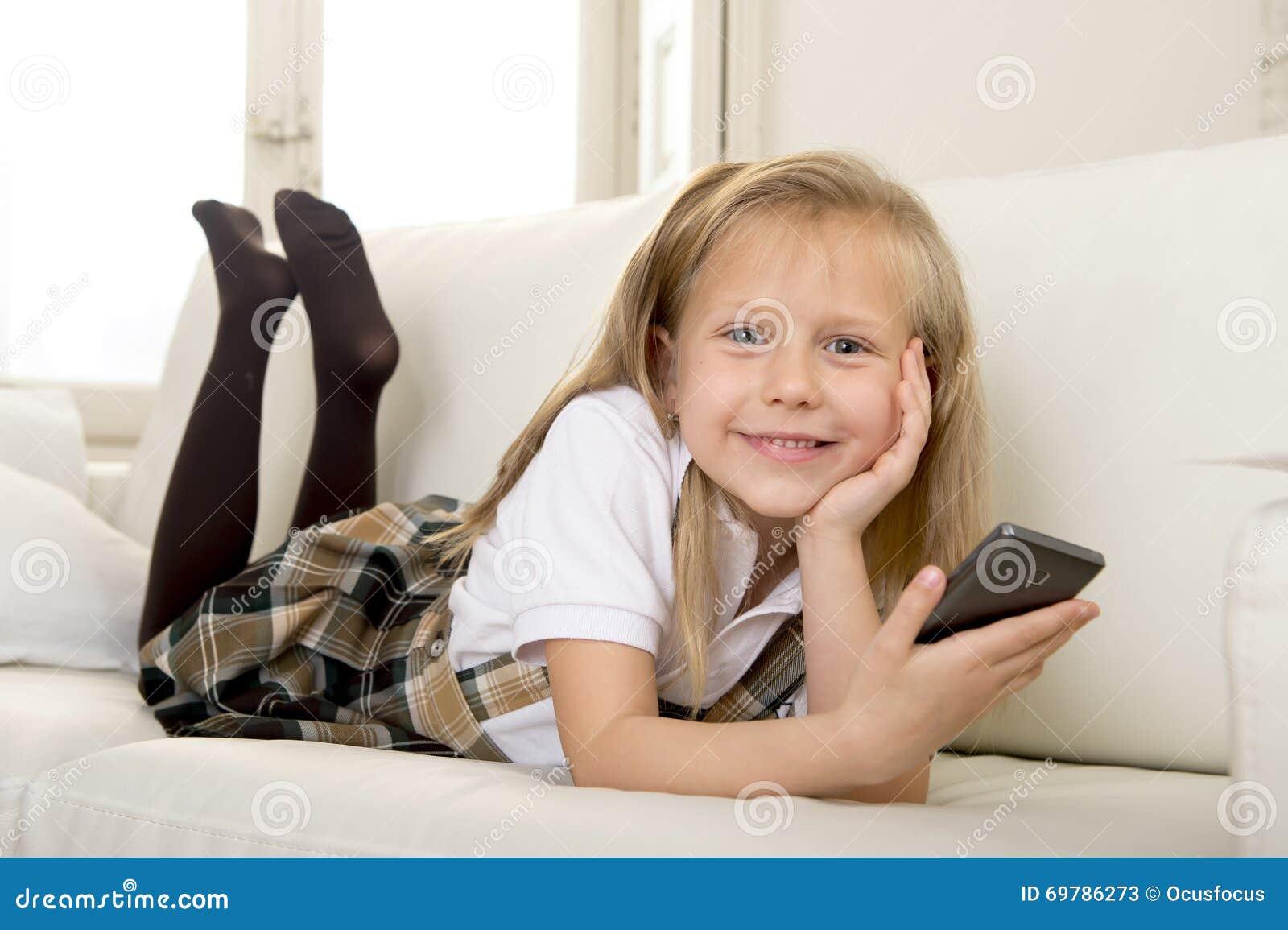 cute panty girl on sofa