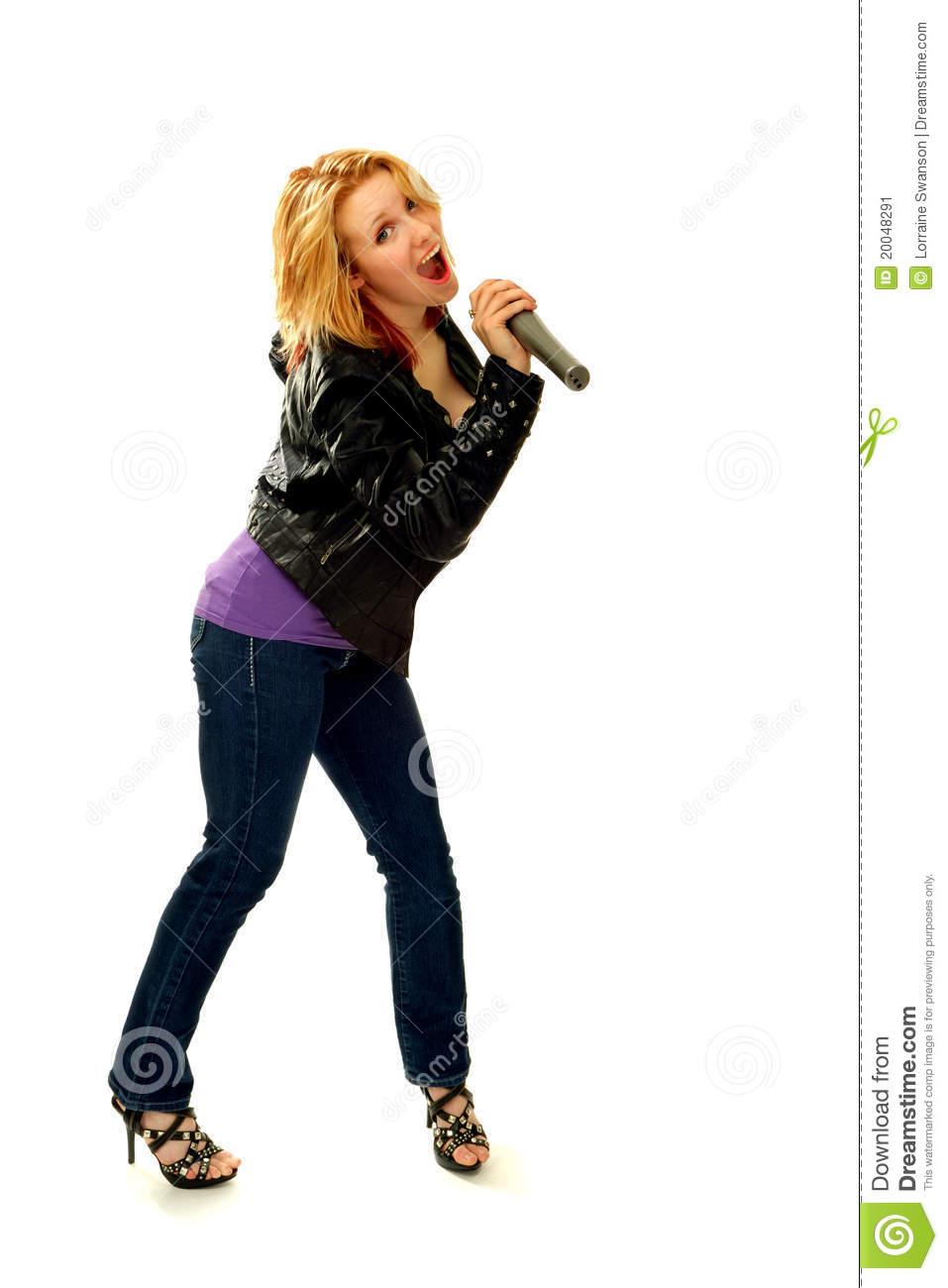 Happy Blond Woman Singing with Microphone