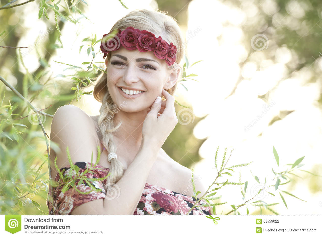 Happy Blonde Wearing A Flower Crown Stock Photo Image Of Face
