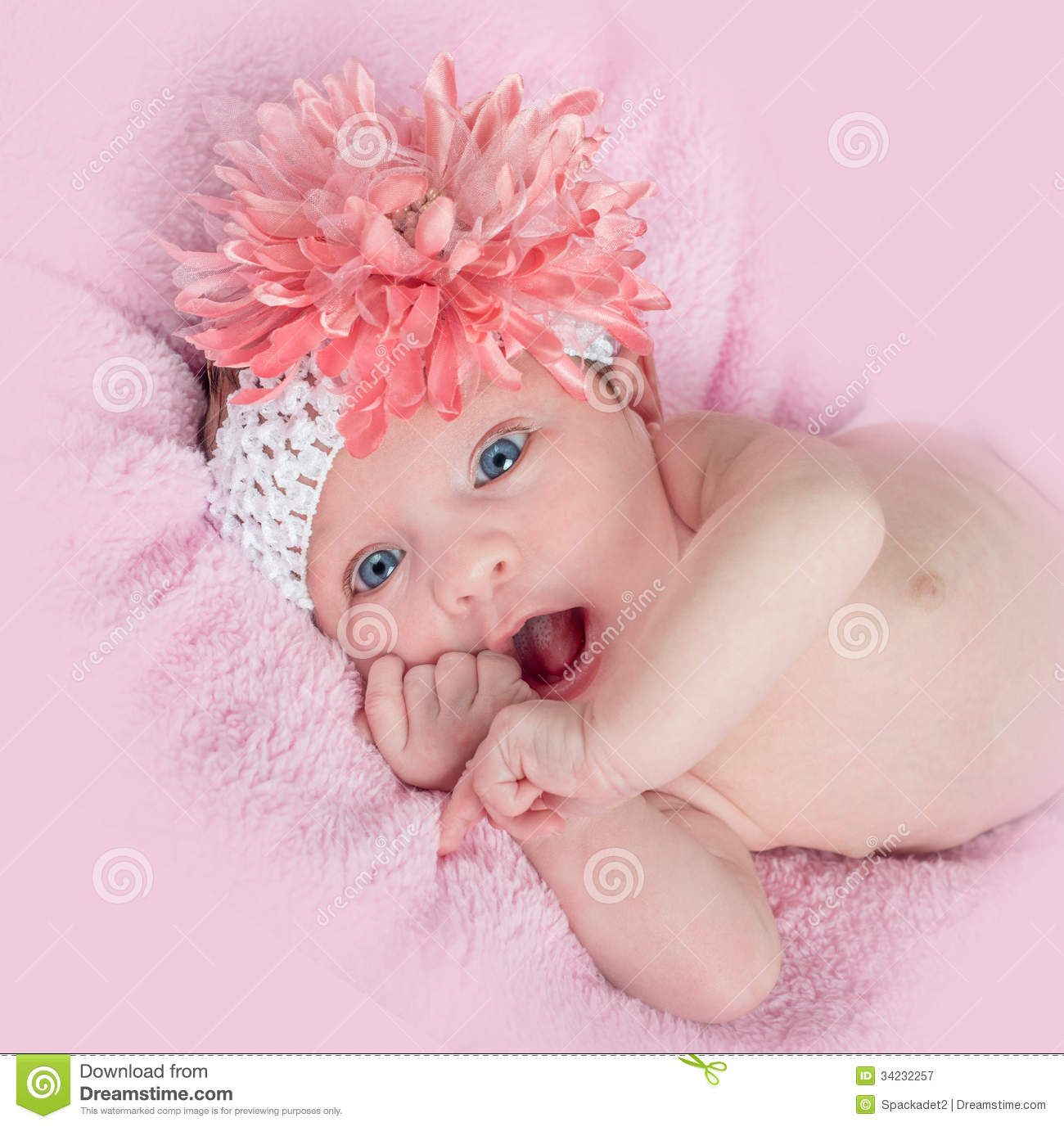 Happy Blue Eyed Baby Girl Headband Flower