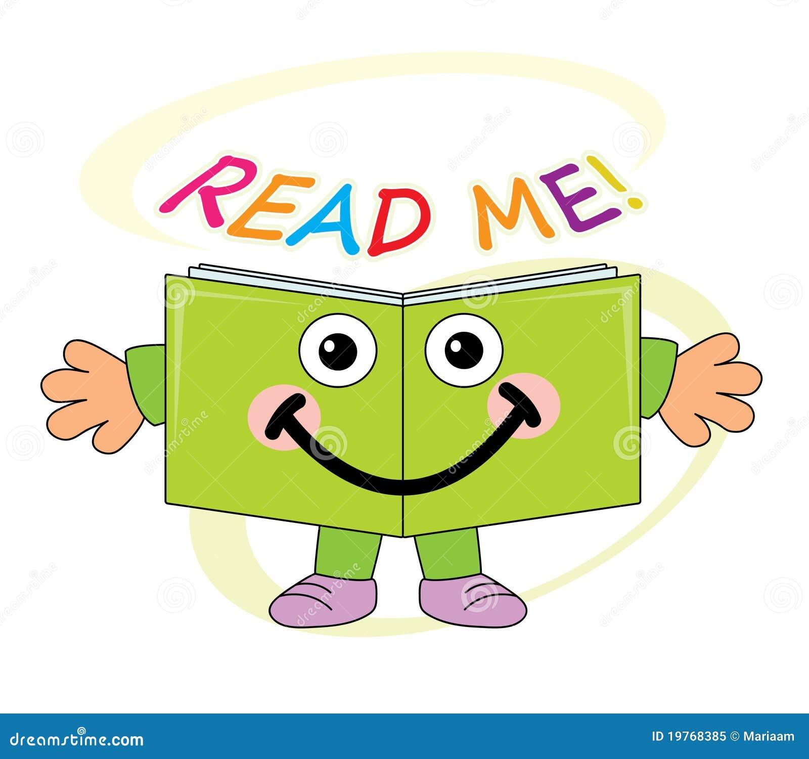 Cartoon Characters Reading Books : Happy book mascot read me royalty free stock photo