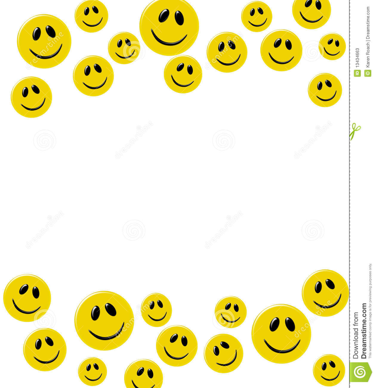 Lots of yellow smiley faces on a white background, happy border.
