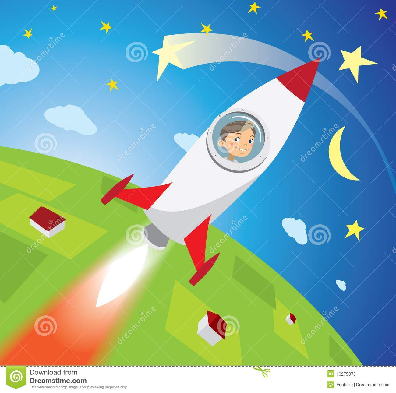 Happy Boy Astronaut Flying On Rocket Into Space Royalty ...