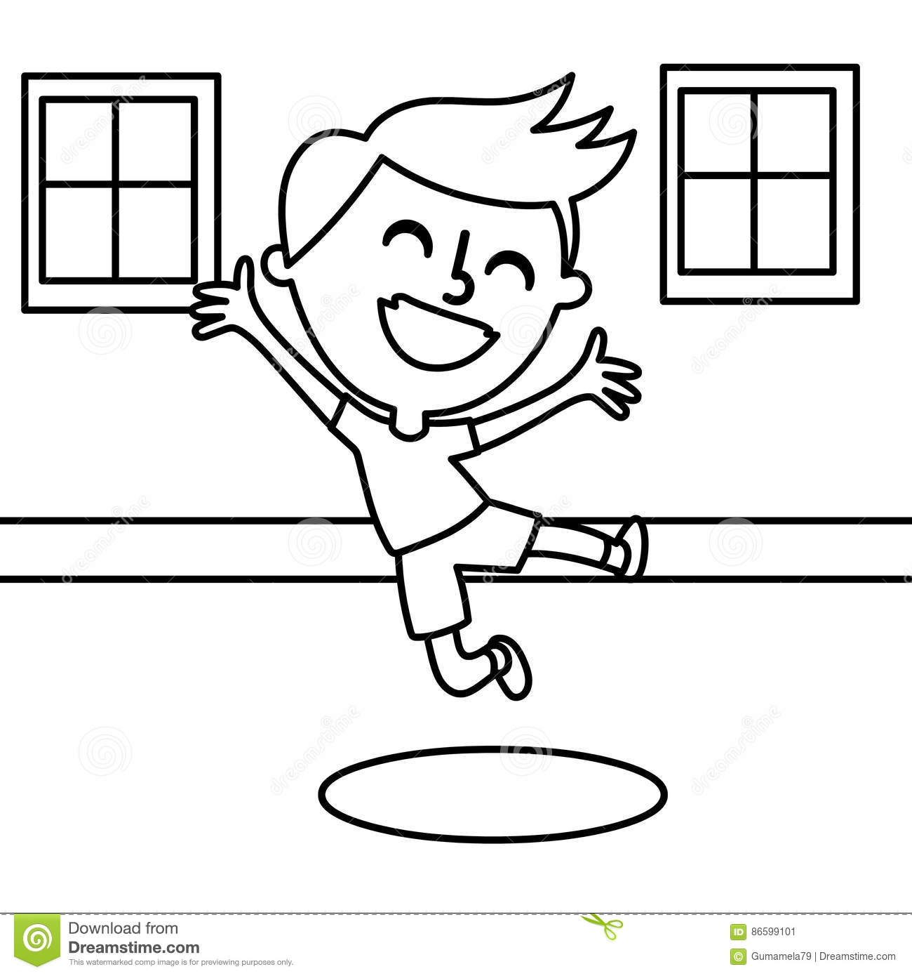 jump coloring pages for kids | Happy boy coloring page stock illustration. Illustration ...