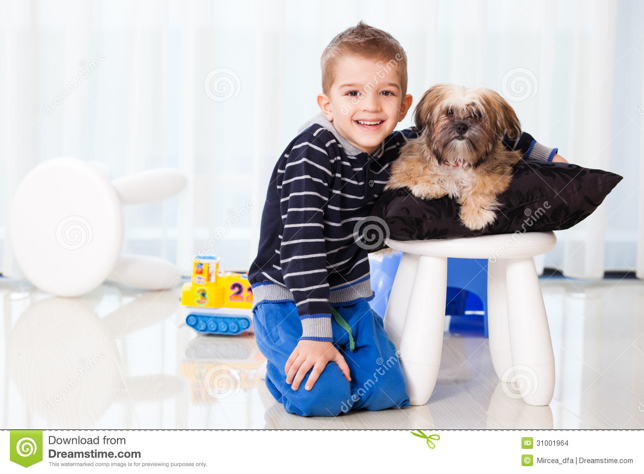 Happy Boy With Dog Stock Images Image 31001964