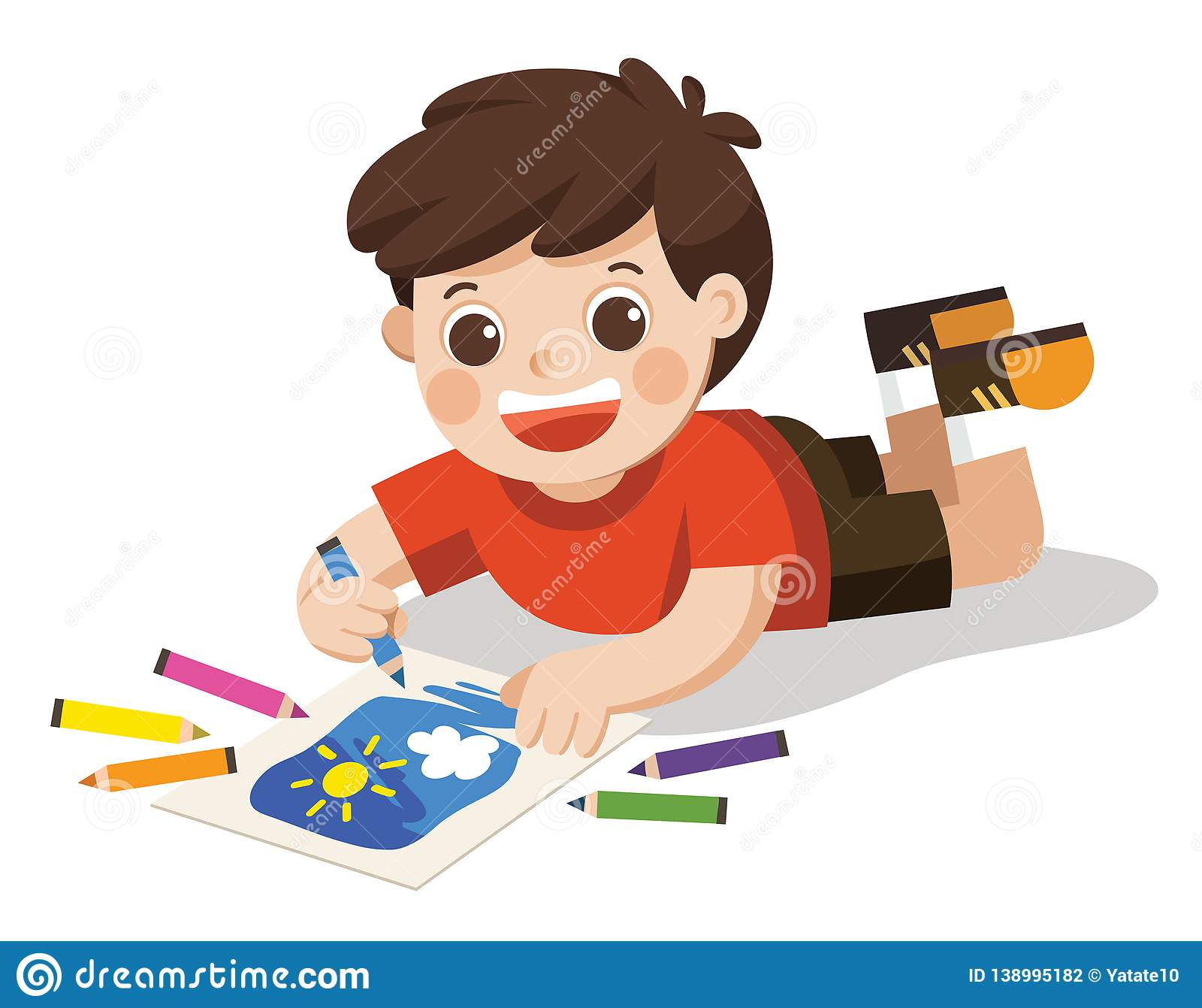 Happy Boy draw pictures pencils and paints on floor.Isolated vector