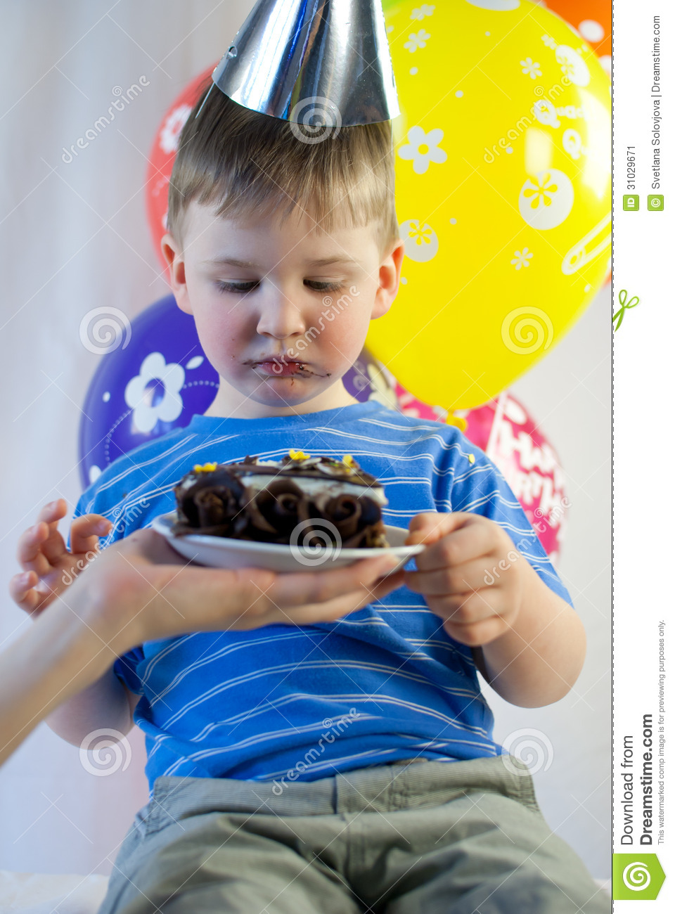 Happy Boy Eat Birthday Cake Stock Image Image 31029671