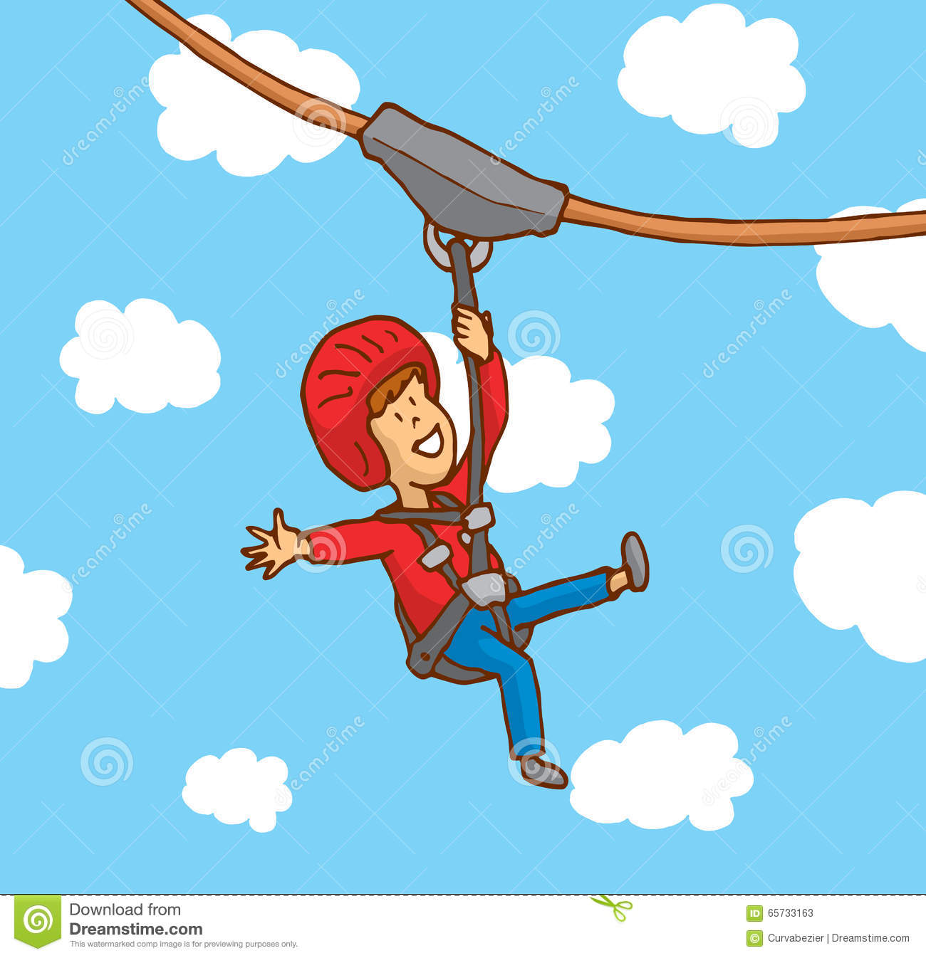 Zip Line Clipart : Happy boy enjoying a zipline stock vector illustration