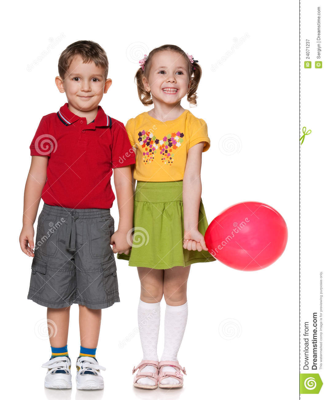 Happy Boy And A Girl With Balloon Royalty Free Stock
