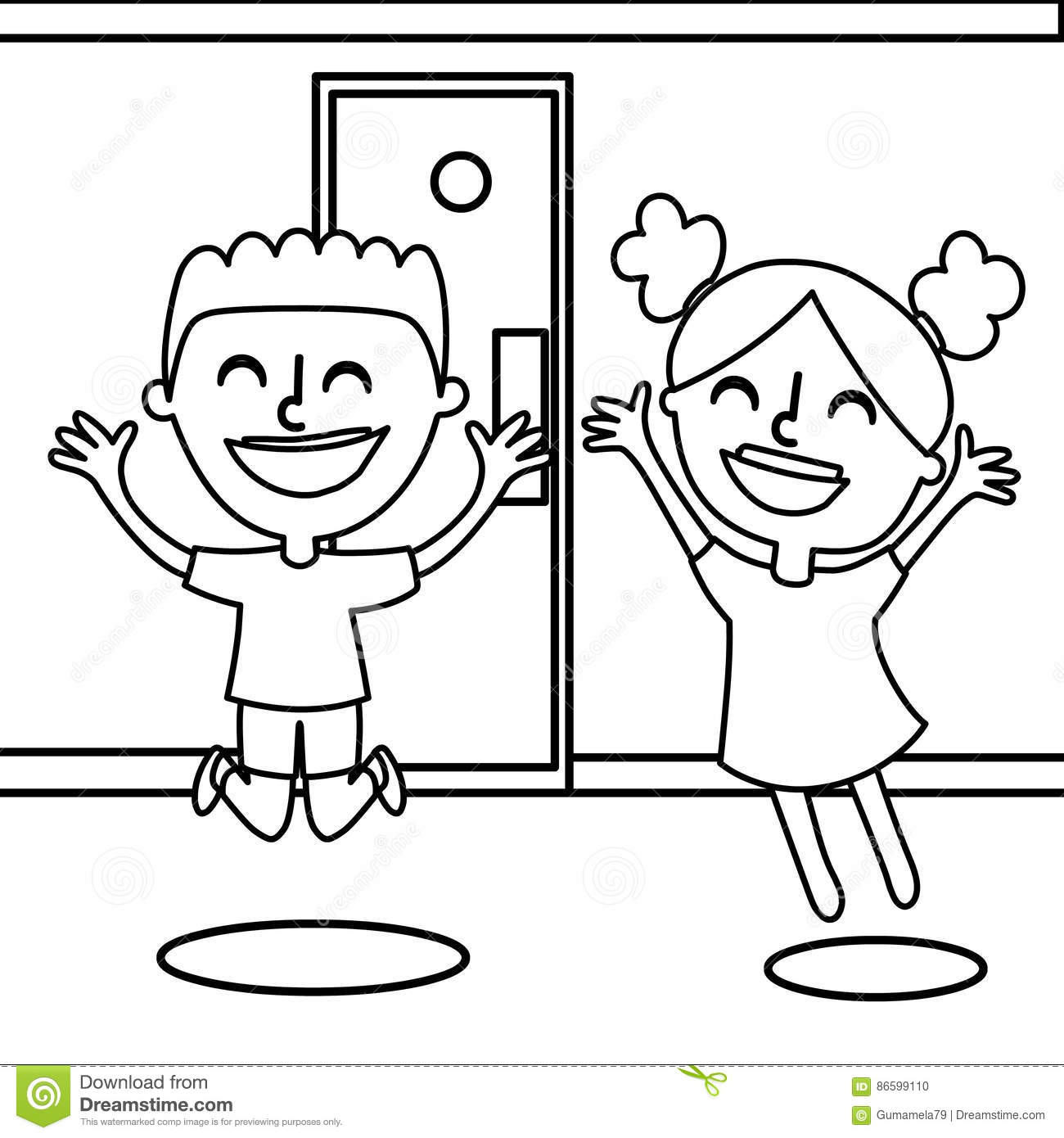 Happy Boy And Girl Coloring Page Stock Illustration - Illustration ...