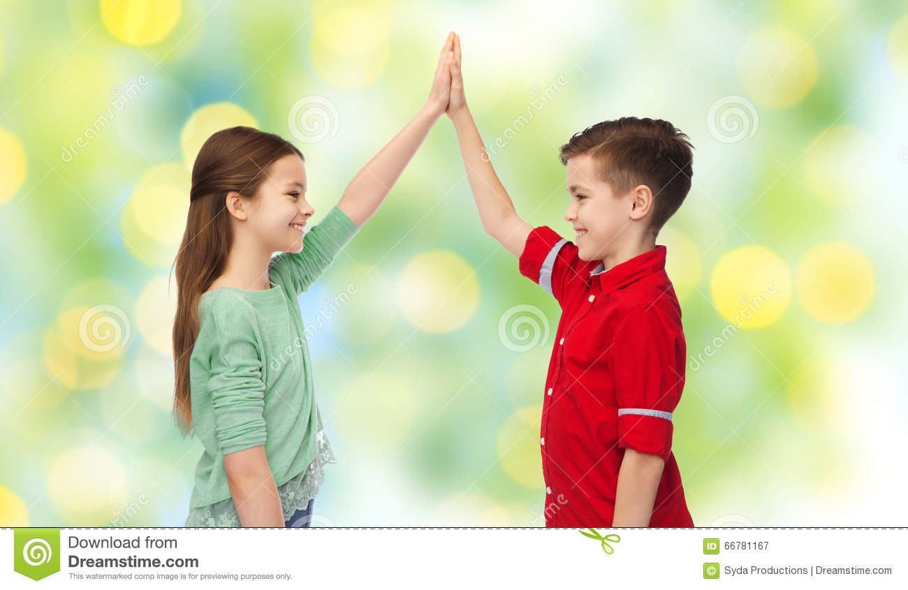 Happy Boy And Girl Making High Five Stock Image Image Of Concept
