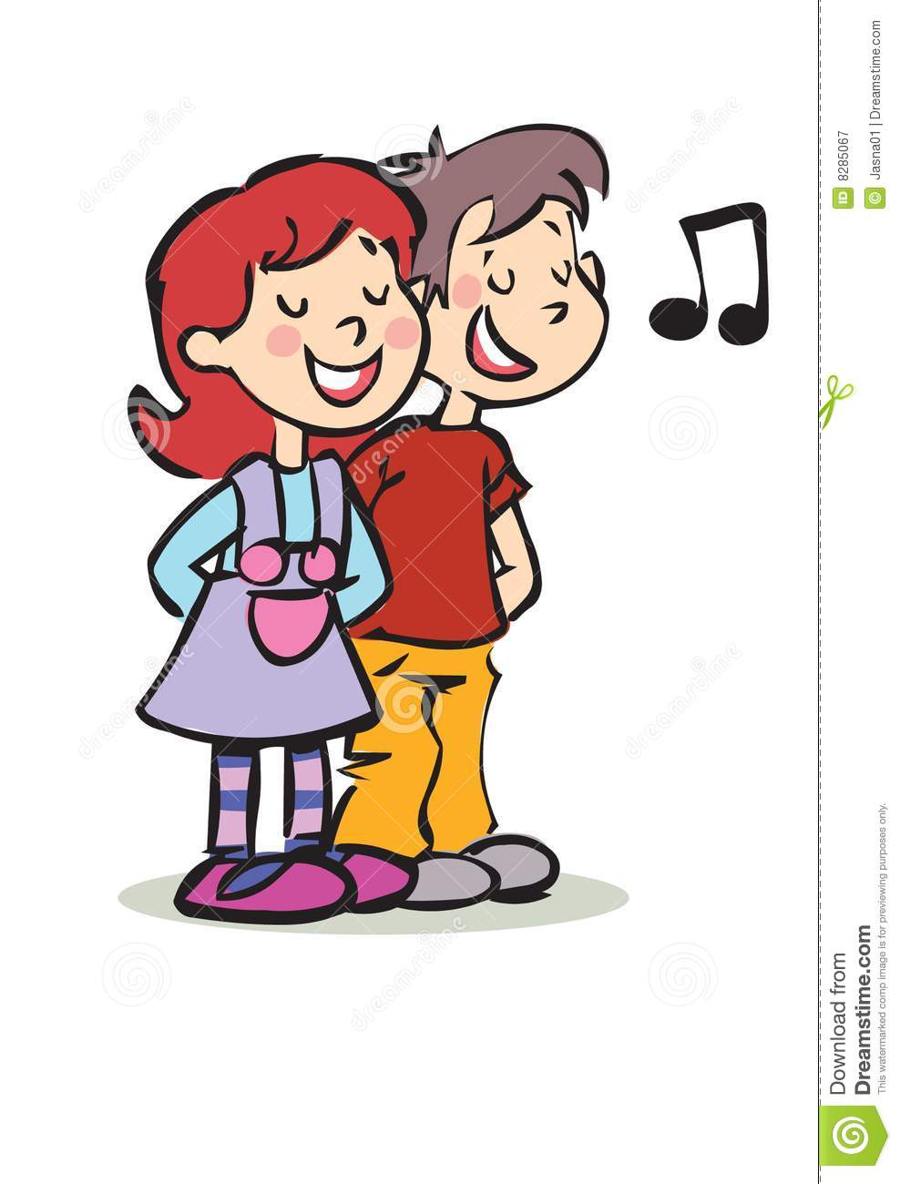 Happy Boy And Girl Singing Royalty Free Stock Photography