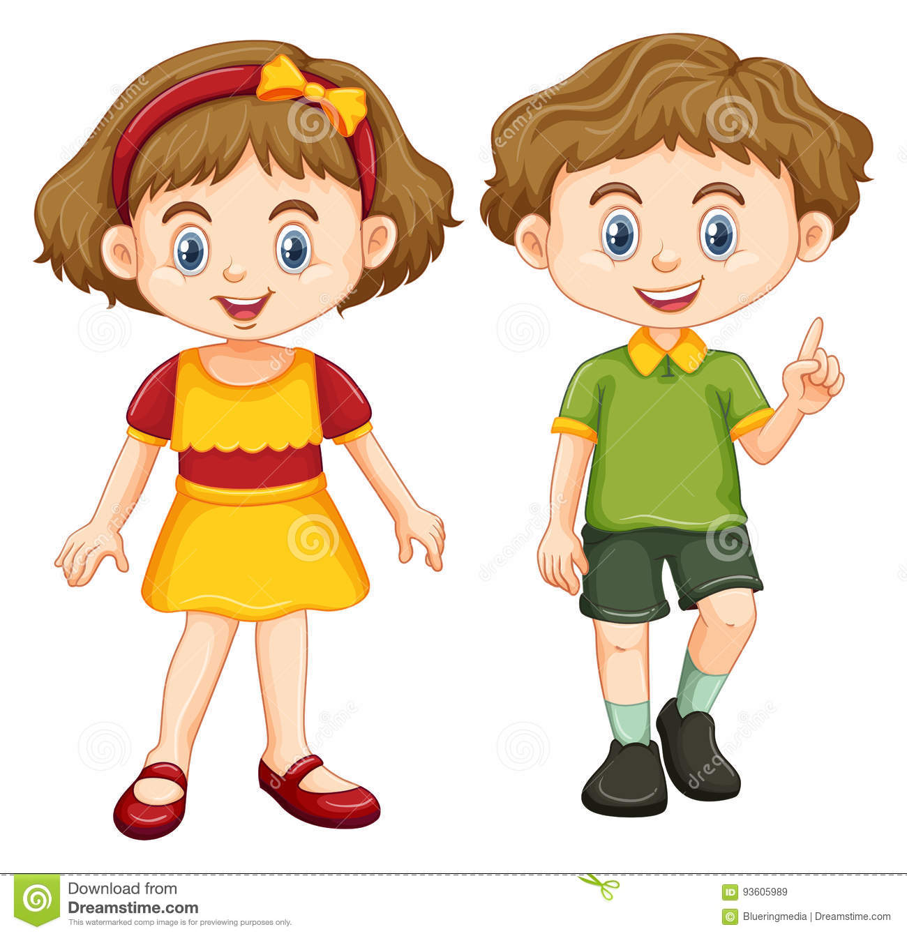 Young Happy Boy With Brown Wet Hair Is Smiling And: Happy Boy And Girl Standing Stock Vector
