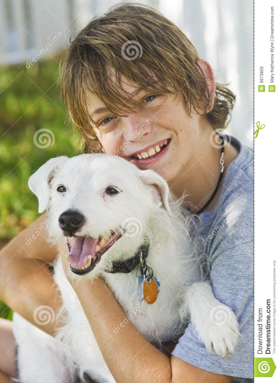 Little Boy And Dog Friends Outside