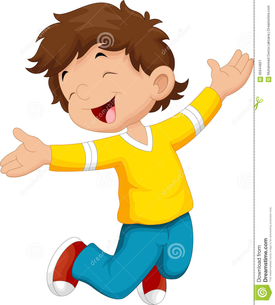 Happy Boy And Jump Stock Illustration. Illustration Of