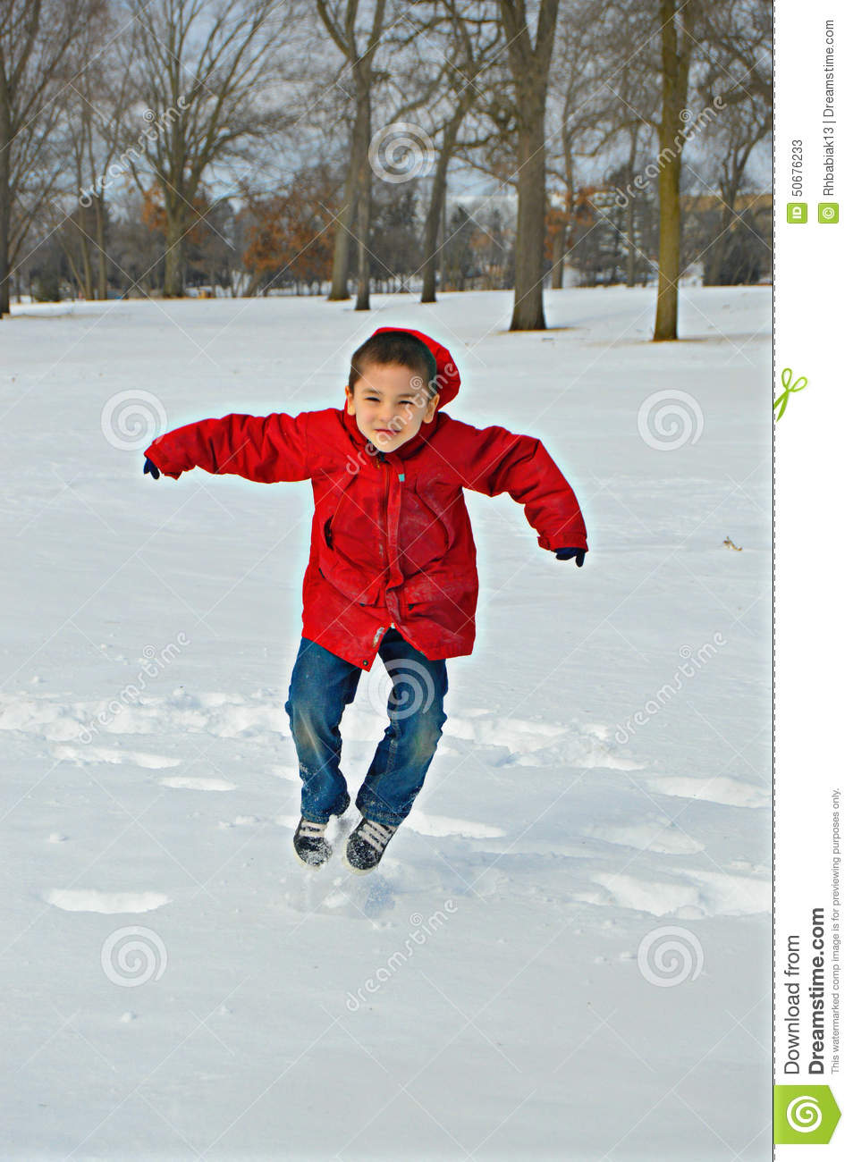 happy boy jumping  red coat in winter stock photo image winter coat clip art for kids winter coat clip art black and white