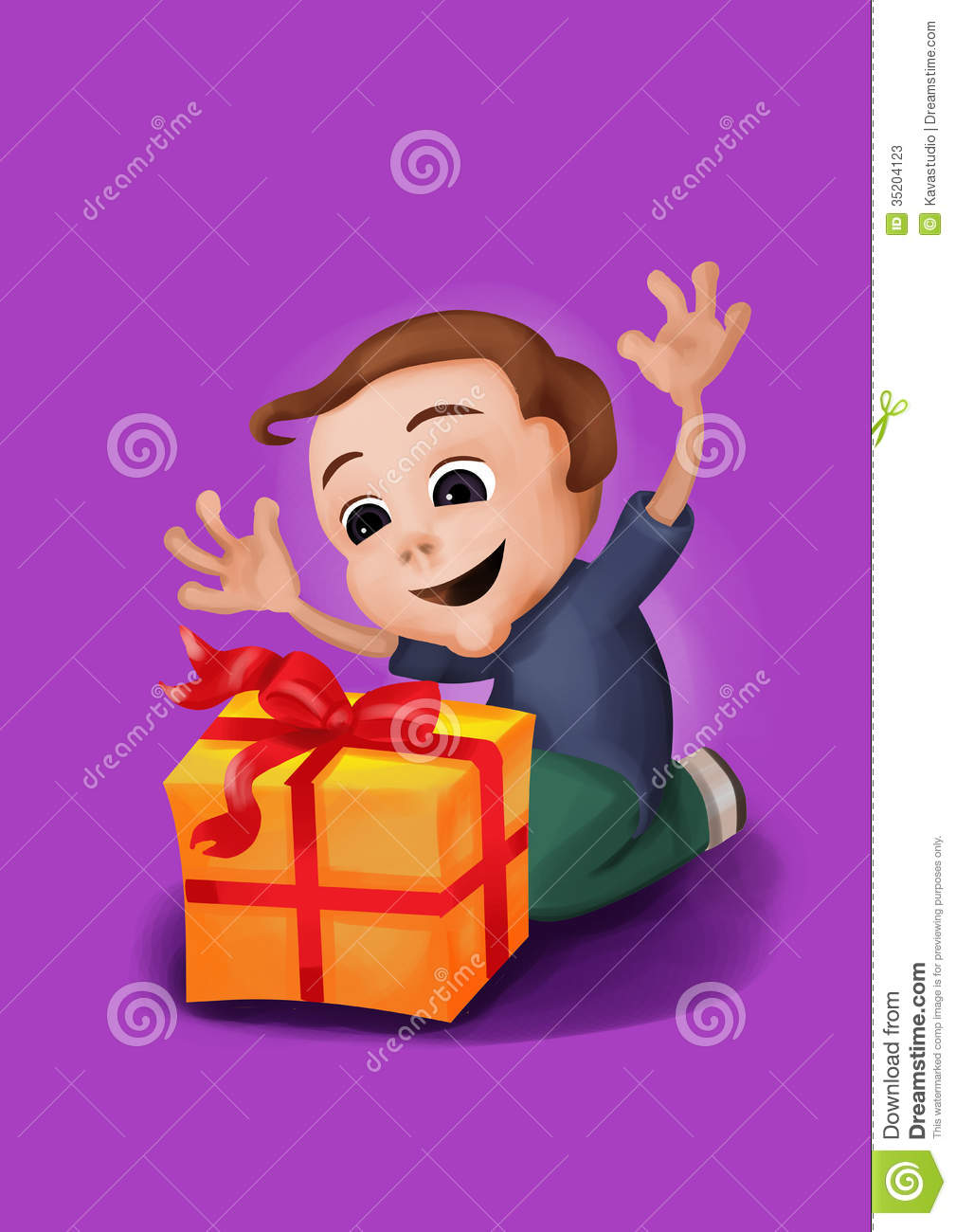 Happy Boy Kneeling Receiving A Box With Ribbon Raising His Hands