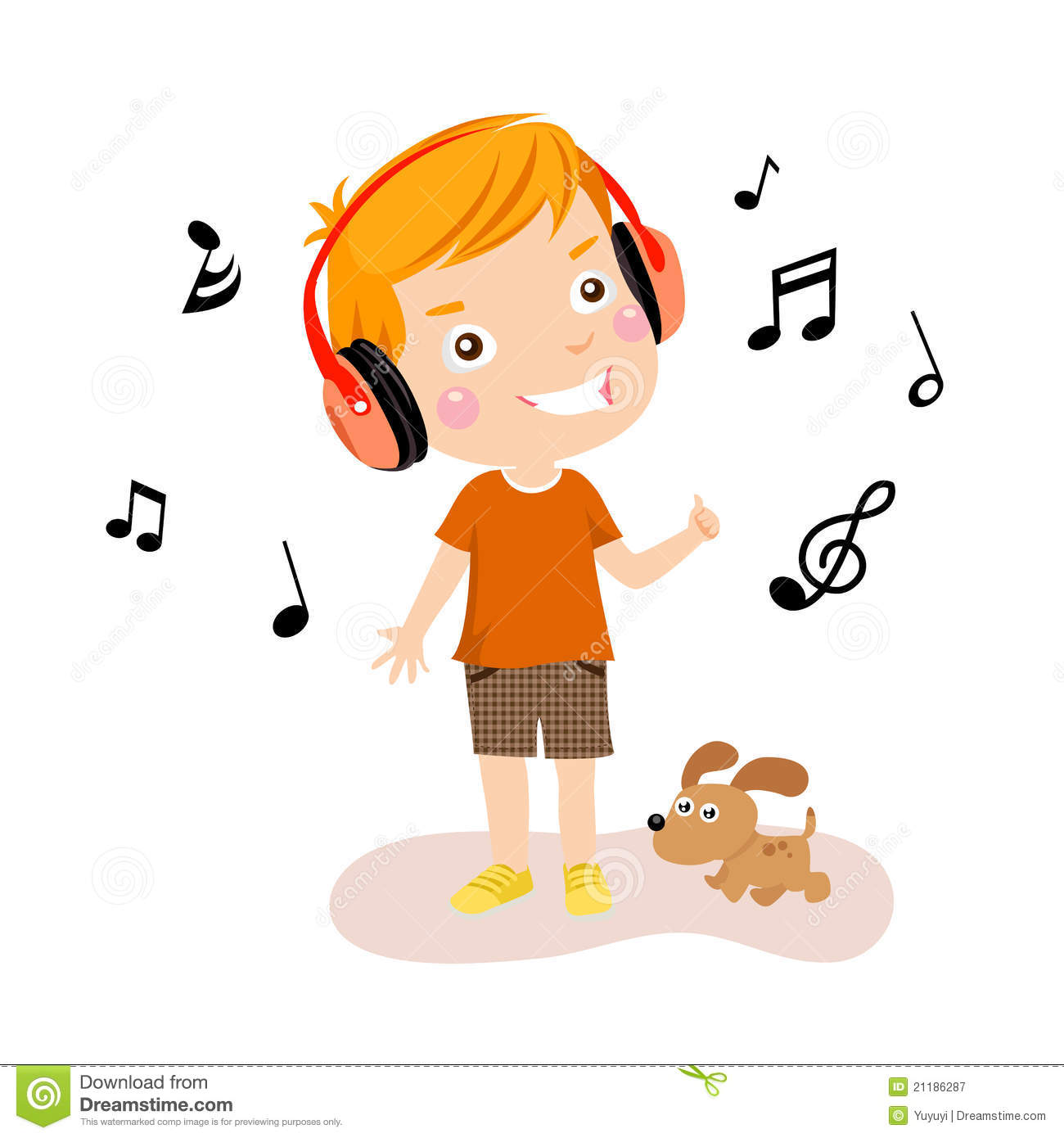 happy boy listening to music stock illustrations – 157 happy boy