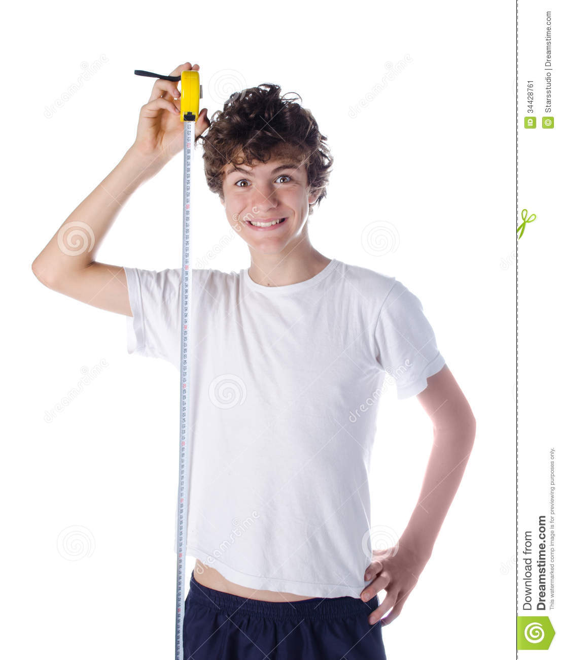 Happy Boy Measuring His Own Height Stock Image Image