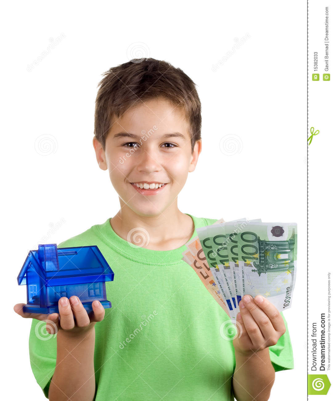 Happy Boy With Money And House In His Hand Stock Photos